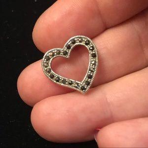 Marcasite Sterling Silver heart Pendant